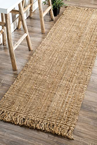 nuLOOM Natura Collection Chunky Loop Jute Runner Rug, 2′ 6″ x 8′, Natural