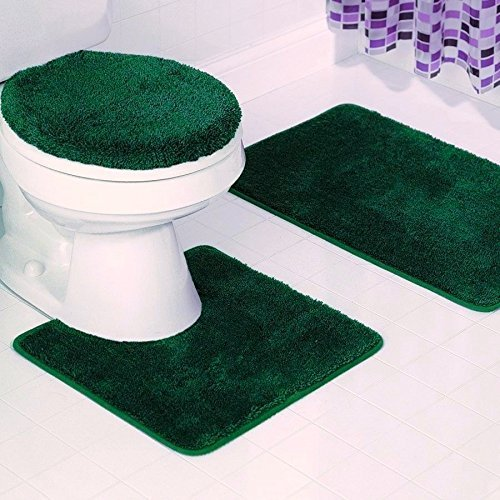 Elegant Home Goods Solid Color 3 Piece Bathroom Rug Set Bath Rug, Contour Mat, Lid Cover Non-Slip with Rubber Backing Solid Color New #6 Hunter Dark Green