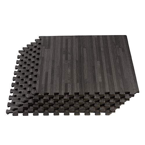Forest Floor Thick Printed Foam Tiles, Premium Wood Grain Interlocking Foam Floor Mats, Anti-Fatigue Flooring, 3/8″ Thick, 36 Square Feet 9 Tiles, Carbon