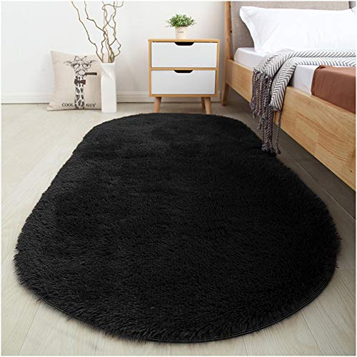 Softlife Fluffy Area Rugs for Bedroom 2.6′ x 5.3′ Oval Shaggy Floor Carpet Cute Rug for Boys Kids Room Living Room Home Decor, Black