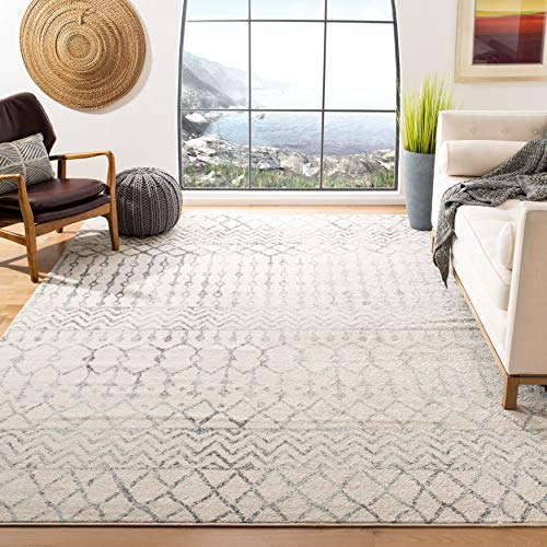 Safavieh Tulum Collection TUL270A Boho Moroccan Distressed Area Rug, 8′ x 10′, Ivory/Grey