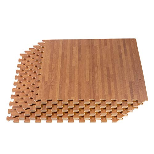 FOREST FLOOR 5/8 Inch Thick Printed Foam Tiles, Premium Wood Grain Interlocking Foam Floor Mats, Anti-Fatigue Flooring, Mahogany, 72 Sq Ft