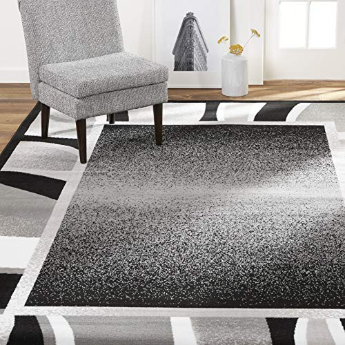 Home Dynamix Lyndhurst Rotana Modern Area Rug, Contemporary Black/Gray 5'2″x7'4″