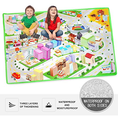 Kid's Toy Carpet Rug Playmat with Urban Traffic Road Map and Car Track Scene Suitable for Baby Crawling, Full of Fun