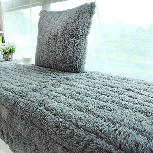 CAMAL Plush Thickened Non-Slip Bay Window Pad/Windowsill Mat/Window Bench Mat 70x180cm, Grey