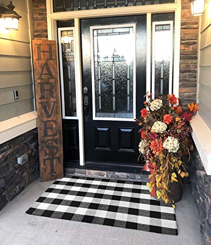 Ukeler Black and White Rug 3×5- Cotton Farmhouse Layered Doormat Hand-Woven Checkered Carpet Plaid Rug for Doorway/Kitchen/Bathroom/Entry Way/Laundry Room/Bedroom