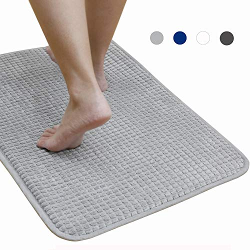 Bath Mat Non Slip, Bathroom Memory Foam Mat Absorbent Shower Rug Carpet, Thick and Quick Drying Microfiber for Floors 17×24 inches,Light Grey