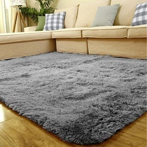 ACTCUT Super Soft Indoor Modern Shag Area Silky Smooth Rugs Fluffy Rugs Anti-Skid Shaggy Area Rug Dining Room Home Bedroom Carpet Floor Mat 4- Feet By 5- Feet Grey