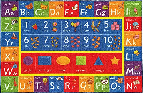 5'0″ x 6'6″ – Kev & Cooper Playtime Collection ABC, Numbers and Shapes Educational Area Rug