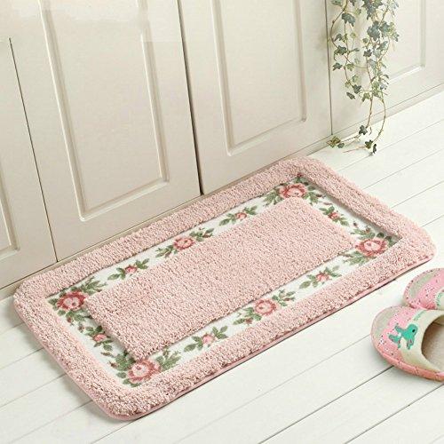 Sytian® Decorative Super Soft Floral Design Rural Style Pretty Rose Pattern Non Slip Absorbent Shaggy Area Rug Carpet Doormat Floormat Bath Mat Bathroom Shower Rug 15.75*23.62 Inch Pink