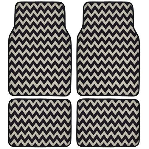 BDK USA Line Design Chevron/ZigZag Carpet Floor Mats White