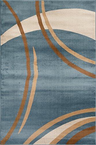 Rug Decor Contemporary Modern Wavy Circles Area Rug, 5′ 2″ by 7′ 2″, Blue