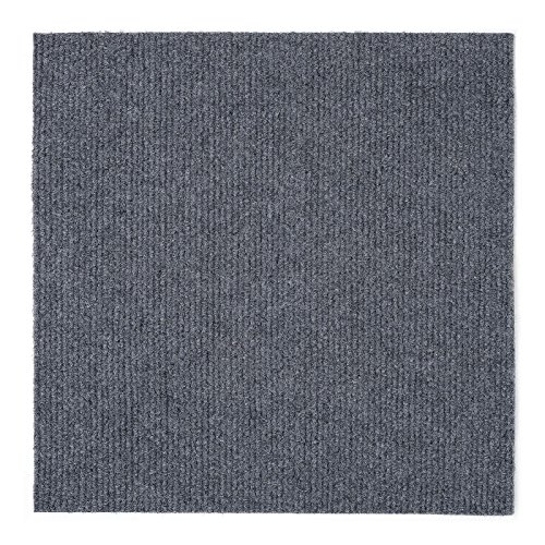 Peel and Stick 12×12 Self Adhesive Do It Yourself DIY Ribbed Carpet Floor Tiles for Residential & Commercial Carpet Squares for Flooring Use Smoke