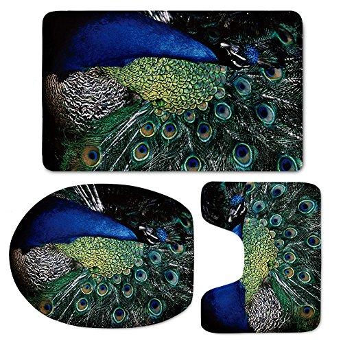 Coloranimal Cool 3D Peacock Bathroom Rug Set Soft Contour Mat+Lid Toilet Cover+Bath Mat Non Slip Doormat3 Piece