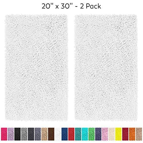 "LuxUrux Bathroom Rugs Set-Extra-Soft Plush Bath mat Shower Bathroom Rug,1"" Chenille Microfiber Material, Super Absorbent.Bath Rugs Rectangular 20 x 30"" Set, White"