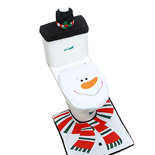 Adorox Christmas Snowman Toilet Seat Cover Set Rug Red Christmas Decorations Bathroom 3 Piece Set