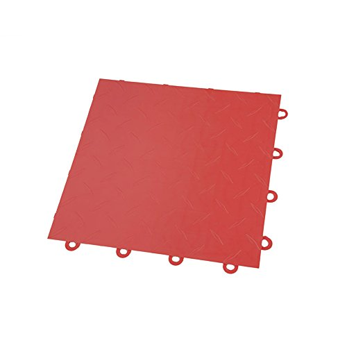IncStores Diamond Nitro Garage Tiles 12″x12″ Interlocking Garage Flooring Red – 52-12″x12″ Tiles