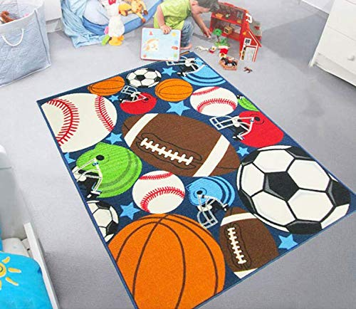 "HUAHOO Blue Kids Rug Fun Sport Rugs Nylon Carpet Boys Girls Childrens Rug Balls Print with Soccer Ball, Basketball, Football, Tennis Ball Bedroom Playroom 51"" x 75"""
