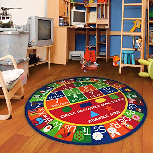Furnish my Place Kids Rug ABC Alphabet Numbers and Shapes Educational Area Rug Non Skid Backing, Round