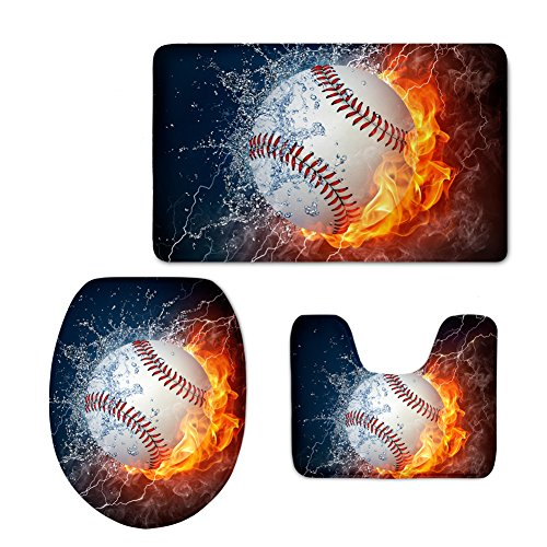 Coloranimal Fashion 3D Baseball Printed U-Shaped Toilet Mat+Area Rug+Toilet Lid Covers 3PCS/Set