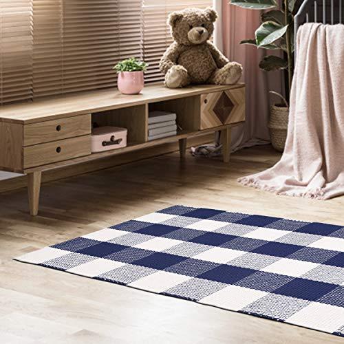 Buffalo Check Cotton Rug 21×34 – Buffalo Checkered Rug 100% Cotton for Kitchen Entryway Living Room – Ink Blue-White
