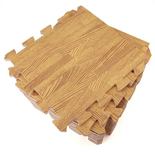 Tebery 16 Pieces Printed Wood Grain Floor Tiles 3/8-Inch Thick EVA Foam Puzzle Floor Mat Light Wood …