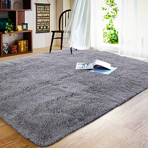 JOYFEEL Soft Bedroom Rug – 5'x8′ Large Grey Modern Indoor Shaggy Fur Floor Area Rug, Fluffy Plush Living Room Carpet Home Decorative Rectangle Accent Rugs Non-slip Nursery Room Kids Play Mat