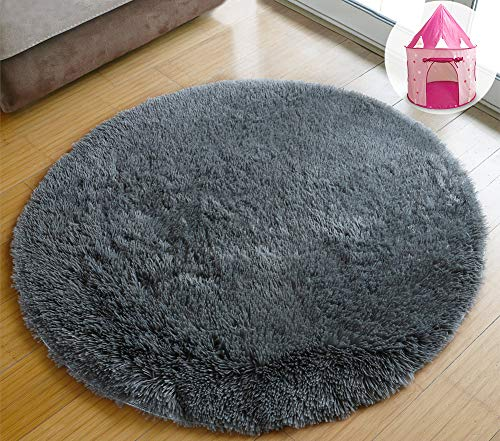 PAGISOFE Ultra Soft Round Area Rugs for Princess Prince Castle Play Tent 41″ Diameter Circle Rugs for Kids Bedroom Baby Room Small Shag Circular Play Room Carpets and Nursery Rugs Grey