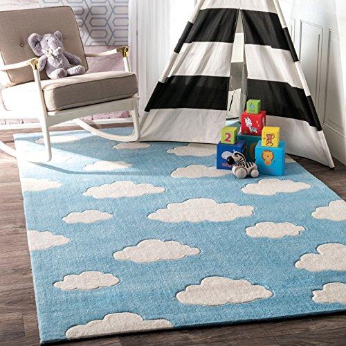 nuLOOM Sachiko Cloudy Kids Rug, 3′ 6″ x 5′ 6″, Blue