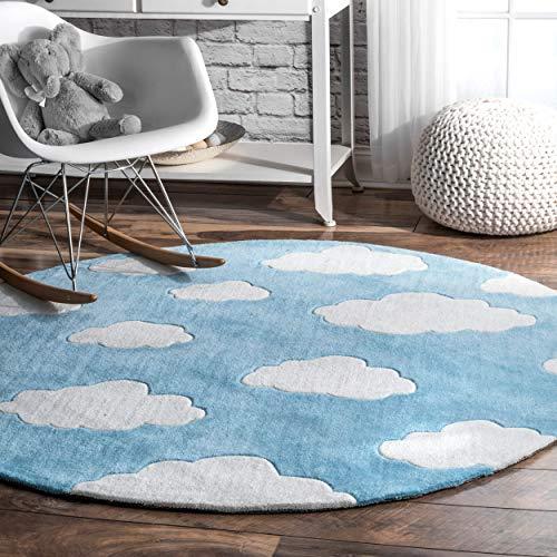 nuLOOM Sachiko Cloudy Kids Round Rug, 5′ Round, Blue