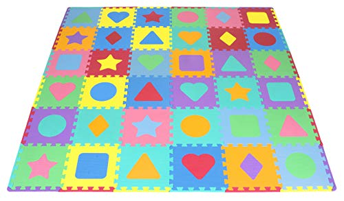 ProSource Kids Foam Puzzle Floor Play Mat with Shapes & Colors 36 Tiles, 12″x12″ and 24 Borders
