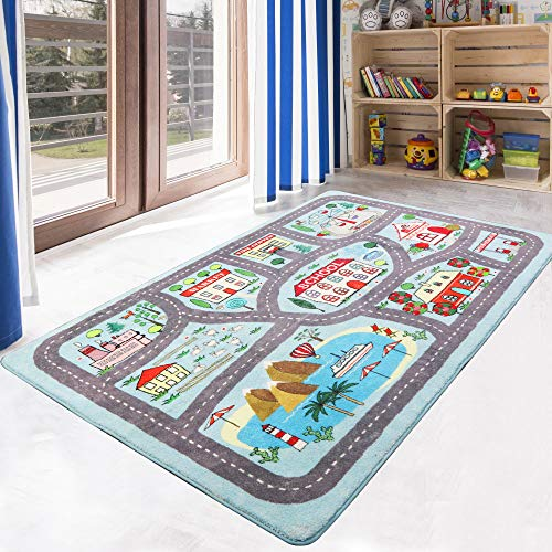 LIVEBOX Play Mat, Faux Wool Kids Road Traffic Area Rugs 4′ x 6′ Non-Slip Childrens Crawling Carpet Colorful Educational & Fun Throw Rug for Living Room Bedroom Playroom Nursery Decor Best Shower Gift