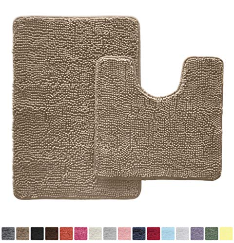 Gorilla Grip Original Shaggy Chenille 2 Piece Area Rug Set Includes Oval U-Shape Contoured Mat for Toilet and 30×20 Carpet Rugs, Machine Wash Dry, Plush Mats for Tub, Shower and Bathroom, Beige
