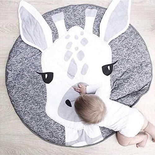 INFILM Kids Rug for Boys and Girls – Animal Print Round Soft Children Area Rug Baby Floor Play mats for Bedroom Kids Rooms Living Room Playroom Giraffe