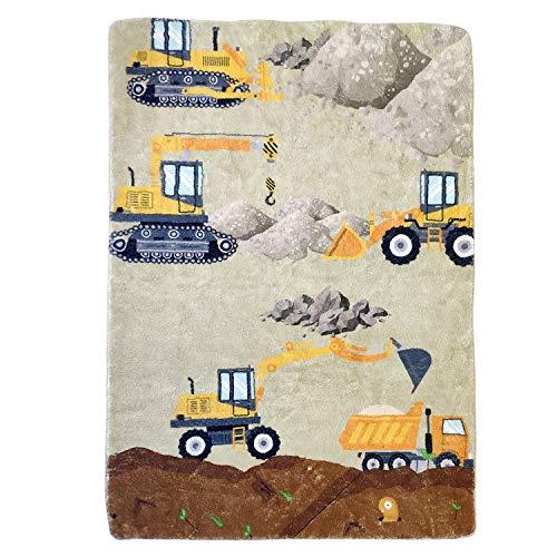 USTIDE Kids Carpet, Construction Bedroom Rug Soft Fluffy Kids Rug 3'2×5′ Cartoon Construction Trucks Bedroom Children Play Mats Baby Crawling Mats