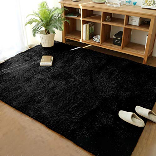 Soft Modern Shaggy Fur Area Rug for Bedroom Livingroom Decorative Floor Carpet, Non-slip Large Plush Fluffy Comfy Warm Furry Fur Rugs for Boys Girls Nursery Accent Rugs 5×8 Feet, Black