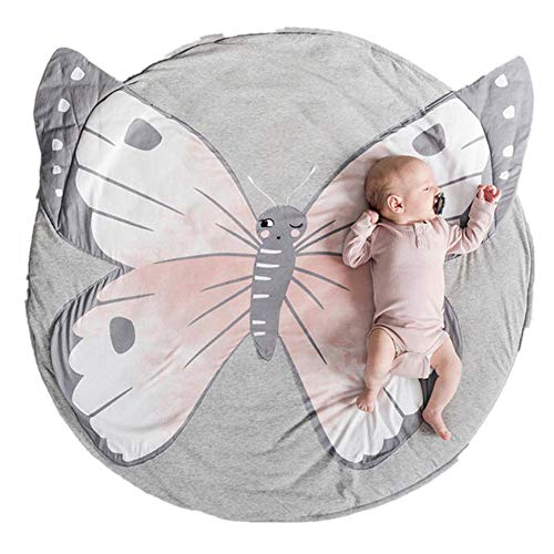 Abreeze Butterfly Baby Round Play Pad Crawling Mat Crawl Cushion Air-Conditioned Rug for Kids Children Toddlers Bedroom