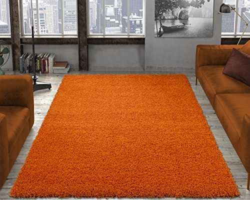 Ottomanson Soft Cozy Color Solid Shag Area Rug Contemporary Living and Bedroom Soft Shag Area Rug, Orange, 5'3″ L x 7'0″ W