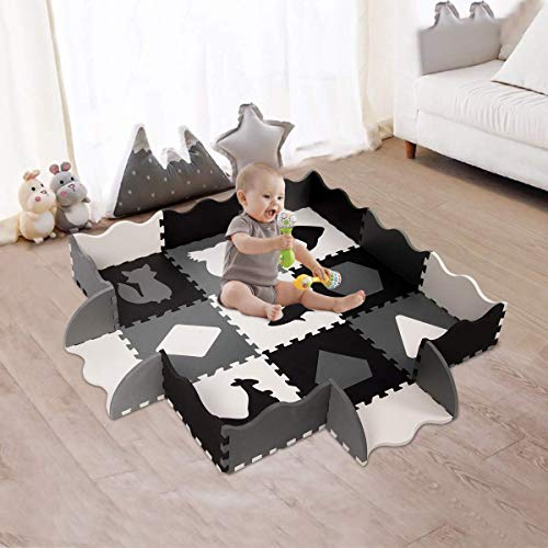 Baby Play Mat for Floor, Eva Foam Baby Mat Tiles with Animals,Thick 0.56″ Interlocking Foam Tiles Small-31