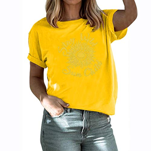 winsopee Fashion Women's Summer Letter Sunflower Printed Tunic Tee Casual Short Sleeve T Shirts Blouse Tops Yellow,L