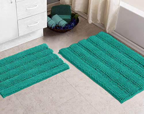 Striped Bath Rugs Set for Indoor/Kitchen Rectangular Set, Turquoise – Bathroom Rugs by Zebrux, Set of 2 Non Slip Thick Shaggy Chenille Bath Mats for Bathroom Extra Soft and Absorbent