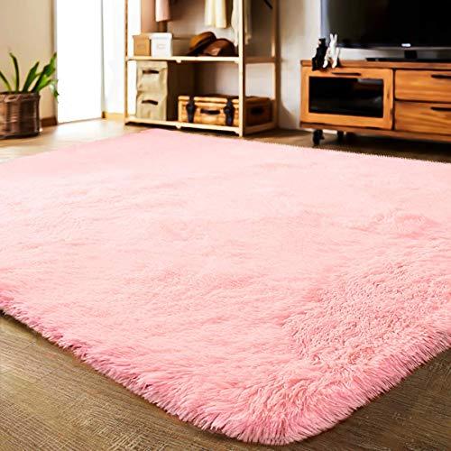 LOCHAS Ultra Soft Indoor Area Rug Shaggy Bedroom Living Room Carpets for Kids Nursery Room, 5.3 x 7.5 Feet Pink