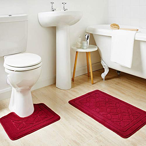 HOMEVER Bath Mats Rugs Set 2 Piece Burgundy Bathroom mats for Toilet, Machine Washable Bathroom Rug with Fashion Pattern, Non Slip Latex Backing Powder Room mat with Dark Red Coutour Rug