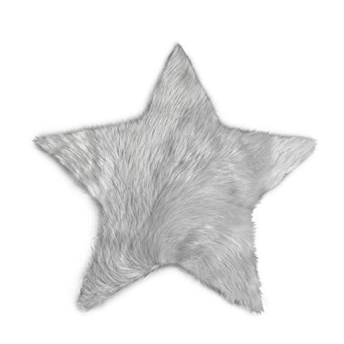 Soft and Silky – Perfect for Baby's Room, Nursery, playroom – Machine Washable Faux Sheepskin Light Grey Star Rug 2′ x 2′ – Fake Fur Area Rug Star Small Light Grey