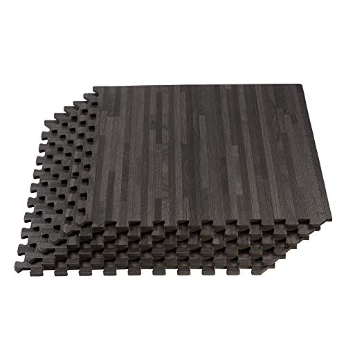 Forest Floor Thick Printed Foam Tiles, Premium Wood Grain Interlocking Foam Floor Mats, Anti-Fatigue Flooring, 3/8″ Thick, 16 Square Feet 4 Tiles, Carbon