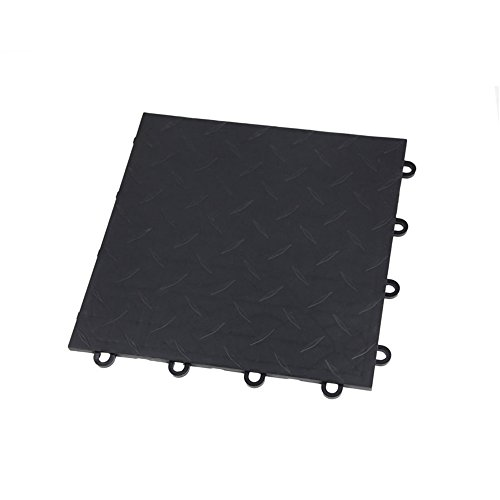 IncStores Nitro Garage Tiles 12″x12″ Interlocking Garage Flooring 1-12″x12″ Tile, Diamond Black