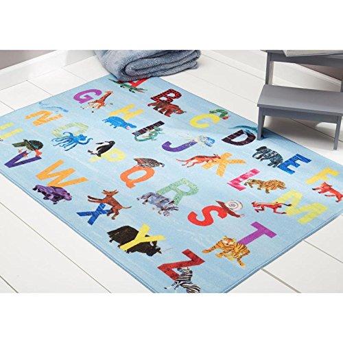 Home Dynamix Eric Carle Elementary Alphabet Educational Kids Area Rug 35″x51″ Blue/Orange